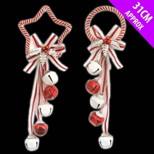 Red & White Candy Cane Design Christmas Bell Hangers Decorations
